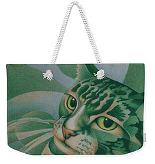 Green Feline Geometry Weekender Tote Bag