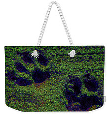 Green Glow Paw Prints Weekender Tote Bag