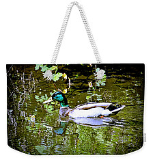 Green Head Mallard Weekender Tote Bag by Nick Kloepping