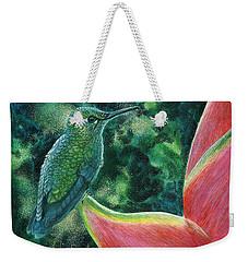 Green Hummingbird Weekender Tote Bag by Sandra LaFaut