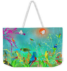 Green Landscape With Parrots - Limited Edition Of 15 Weekender Tote Bag by Gabriela Delgado
