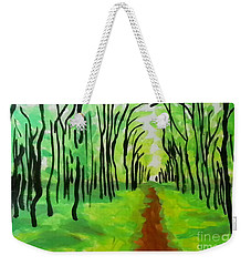 Weekender Tote Bag featuring the painting Green Leaves by Marisela Mungia