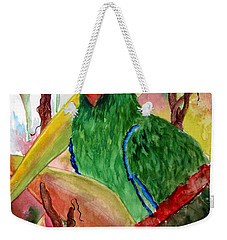 Weekender Tote Bag featuring the painting Green Parrot by Lil Taylor