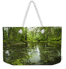 Green Blossoms On Pond Weekender Tote Bag by Jerry Cowart