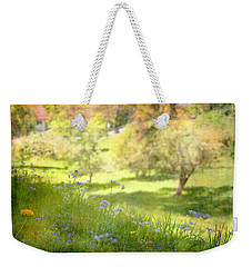 Weekender Tote Bag featuring the photograph Green Spring Meadow With Flowers by Brooke T Ryan