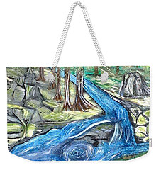 Green Trees With Rocks And River Weekender Tote Bag