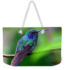 Green Violet Ear Hummingbird Weekender Tote Bag by Myrna Bradshaw