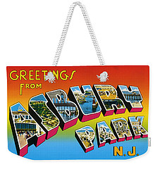 Greetings From Asbury Park Nj Weekender Tote Bag by Bill Cannon