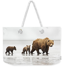 Grizzly Bear Mother And Cubs Lake Clark Weekender Tote Bag