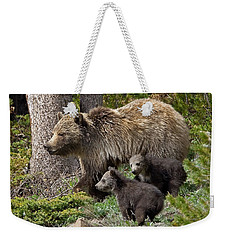 Grizzly Bear With Cubs Weekender Tote Bag