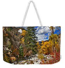 Weekender Tote Bag featuring the photograph Grizzly Creek Vertical by Jeremy Rhoades