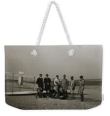 The Wright Brothers Group Portrait In Front Of Glider At Kill Devil Hill Weekender Tote Bag by R Muirhead Art