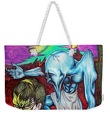 Weekender Tote Bag featuring the drawing Growing Evils by Michael  TMAD Finney