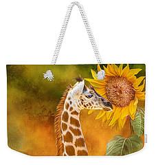Weekender Tote Bag featuring the mixed media Growing Tall - Giraffe by Carol Cavalaris