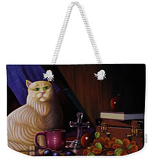 Weekender Tote Bag featuring the painting Grumpy Cat by Gene Gregory