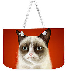 Grumpy Cat Weekender Tote Bag by Olga Shvartsur
