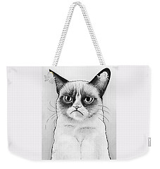 Grumpy Cat Portrait Weekender Tote Bag by Olga Shvartsur