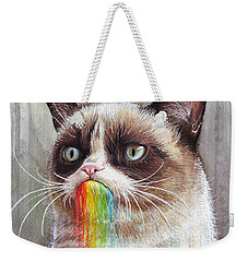 Grumpy Cat Tastes The Rainbow Weekender Tote Bag by Olga Shvartsur