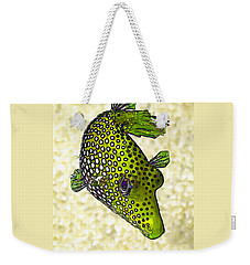 Guinea Fowl Puffer Fish In Green Weekender Tote Bag