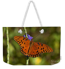 Weekender Tote Bag featuring the photograph Gulf Fritillary Butterfly by Meg Rousher