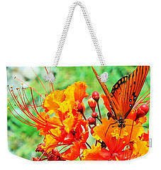 Gulf Fritillary Butterfly On Pride Of Barbados Weekender Tote Bag
