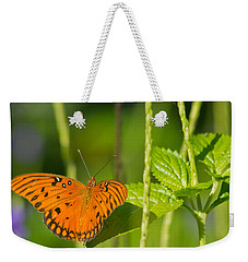 Weekender Tote Bag featuring the photograph Gulf Fritillary by Jane Luxton