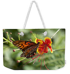 Weekender Tote Bag featuring the photograph Gulf Fritillary Photo by Meg Rousher