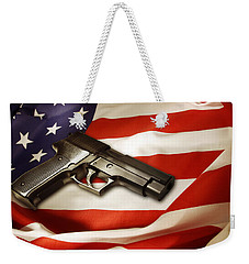 Gun On Flag Weekender Tote Bag