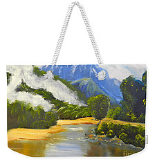 Weekender Tote Bag featuring the painting Haast River New Zealand by Pamela  Meredith