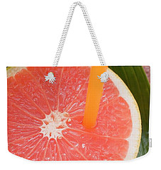 Half A Pink Grapefruit With A Straw Weekender Tote Bag