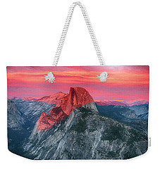Weekender Tote Bag featuring the painting Half Dome Sunset From Glacier Point by John Haldane