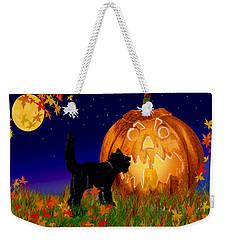 Halloween Black Cat Meets The Giant Pumpkin Weekender Tote Bag