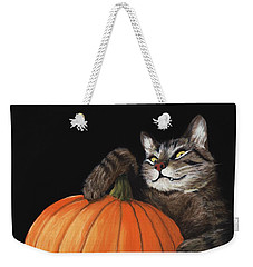 Weekender Tote Bag featuring the painting Halloween Cat by Anastasiya Malakhova