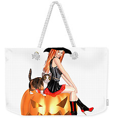 Halloween Witch Nicki With Kitten Weekender Tote Bag by Renate Janssen