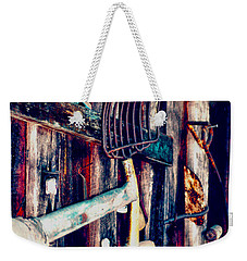Weekender Tote Bag featuring the photograph Handles And The Pitchfork by Lesa Fine