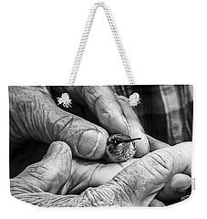 Hands Holding A Hummingbird Weekender Tote Bag