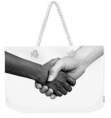 Handshake Black And White Weekender Tote Bag