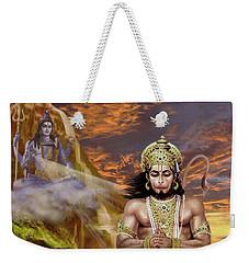 Hanuman Receives Lord Shiva's Blessings Weekender Tote Bag