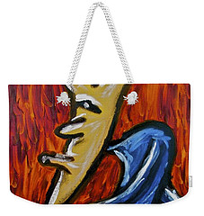 Weekender Tote Bag featuring the painting Happiness 12-001 by Mario Perron