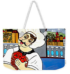 Weekender Tote Bag featuring the painting Chef  Happy Chef by Nora Shepley