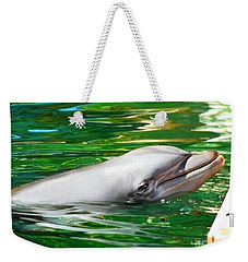 Weekender Tote Bag featuring the photograph Happy Dolphin by Kristine Merc