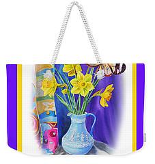 Happy Easter Daffodils Weekender Tote Bag by Irina Sztukowski