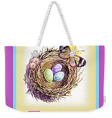 Happy Easter Happy Nest Weekender Tote Bag by Irina Sztukowski