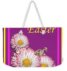 Happy Easter Hiding Bunny Weekender Tote Bag by Irina Sztukowski