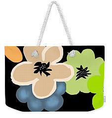 Weekender Tote Bag featuring the digital art Happy Flowers Blue by Christine Fournier