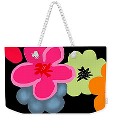 Weekender Tote Bag featuring the digital art Happy Flowers Pink by Christine Fournier