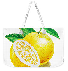 Weekender Tote Bag featuring the painting Happy Grapefruit- Irina Sztukowski by Irina Sztukowski