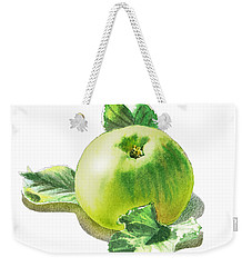 Weekender Tote Bag featuring the painting Happy Green Apple by Irina Sztukowski