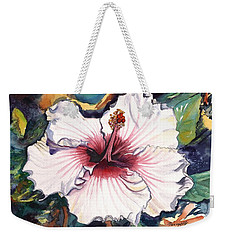 Weekender Tote Bag featuring the painting Happy Hawaiian Hibiscus by Marionette Taboniar