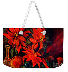 New Orleans Red Poinsettia Oil Painting Weekender Tote Bag